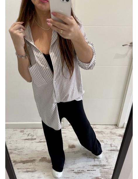 Camiseta canalé bicolor